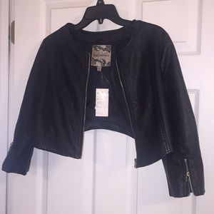 Jackets & Blazers - Body central faux leather crop jacket